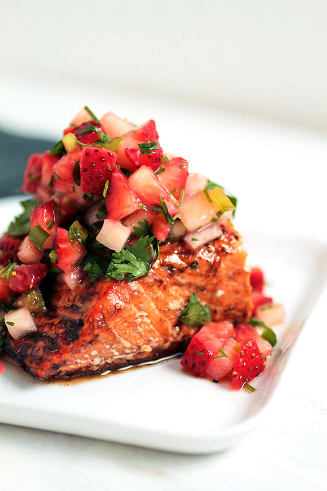 A tasty roasted salmon recipe with balsamic glaze and a quick strawberry salsa recipe.
