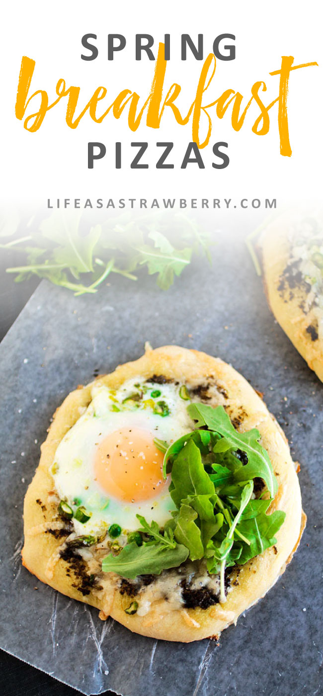 Spring Veggie Breakfast Pizza | It's pizza for breakfast time with these easy homemade pizzas! Fresh spring asparagus, peas, gruyere cheese, and a baked egg make this pizza recipe hearty and filling. Top individual breakfast pizzas with crispy fresh arugula for crunch and flavor. Vegetarian.