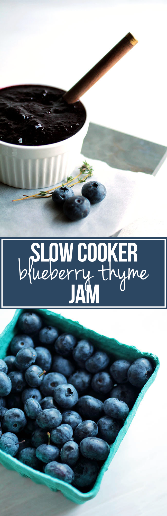 Slow Cooker Blueberry Thyme Jam | This easy homemade blueberry jam gets an earthy twist from a bit of fresh thyme. This crock pot jam is perfect on crostini appetizers, as a topping for fish or chicken, or on your morning toast! Vegetarian, Vegan.