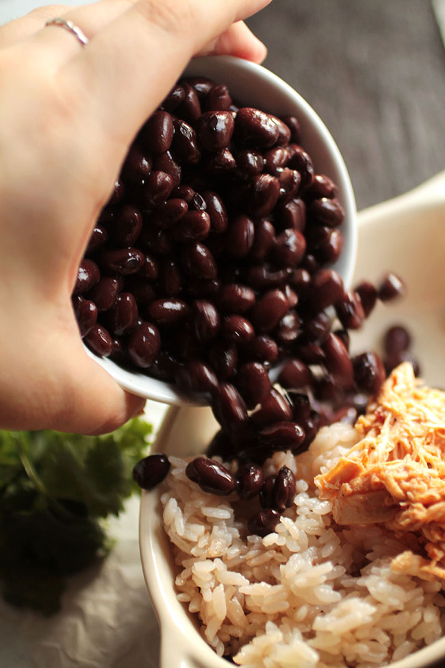 Black beans for salsa chicken burrito bowls