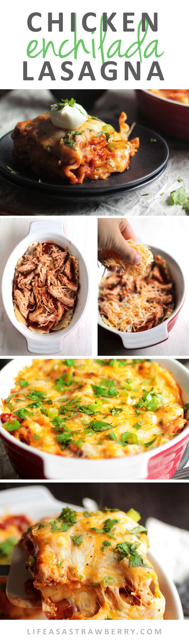 Chicken Enchilada Lasagna | This easy enchilada recipe is a fun twist on your favorite lasagna! An easy chicken recipe for busy weeknights - and it freezes wonderfully if you want to make it ahead of time for freezer meals! Uses an easy homemade enchilada sauce, slow cooker chicken, al dente lasagna noodles and plenty of cheese.