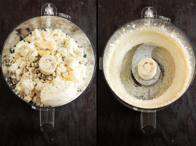 Garlic whipped feta cheese for crostini.