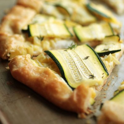 Corn and Zucchini Galette with Garlic Whipped Feta