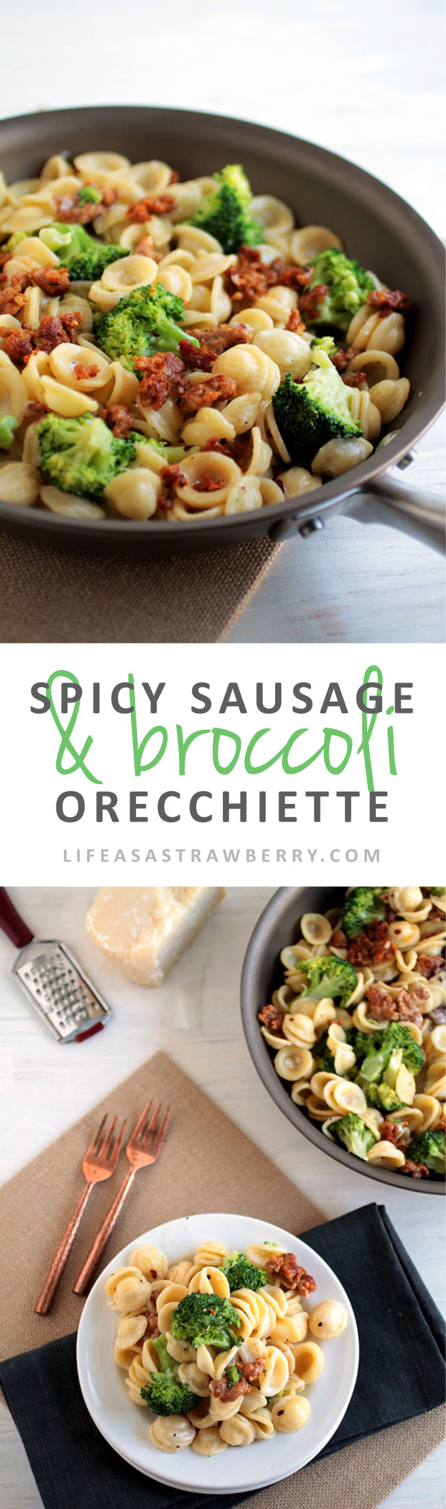 Spicy Sausage and Broccoli Orecchiette | This easy pasta recipe is perfect for busy weeknights! With spicy Italian sausage, pasta and broccoli for a hearty, filling meal with a quick, spicy cream sauce. A great Italian sausage recipe to add to your dinner recipes collection. Ready in 30 minutes!
