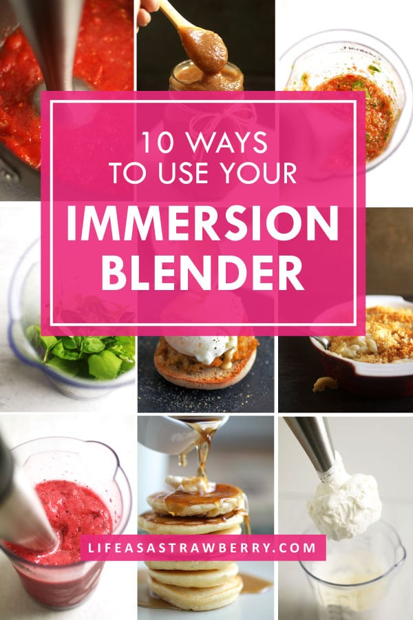 Graphic made up of several individual photos with a pink and white text overlay describing ten ways to use your immersion blender