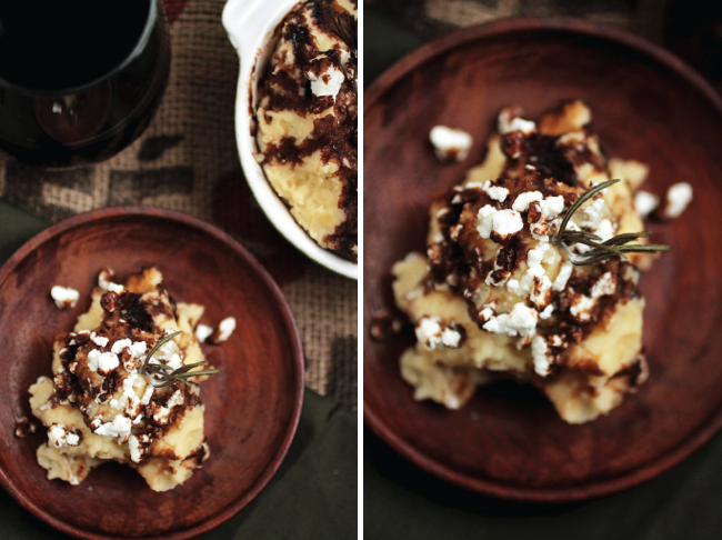 Rosemary Browned Butter Mashed Potatoes with Goat Cheese and Balsamic Glaze