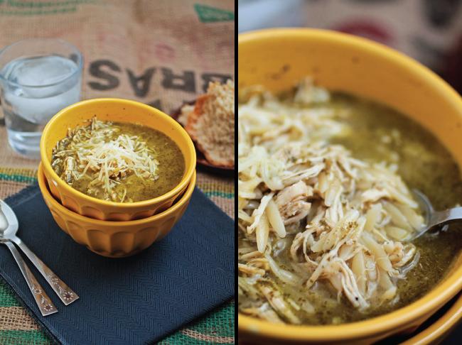 Pesto Turkey Orzo Soup
