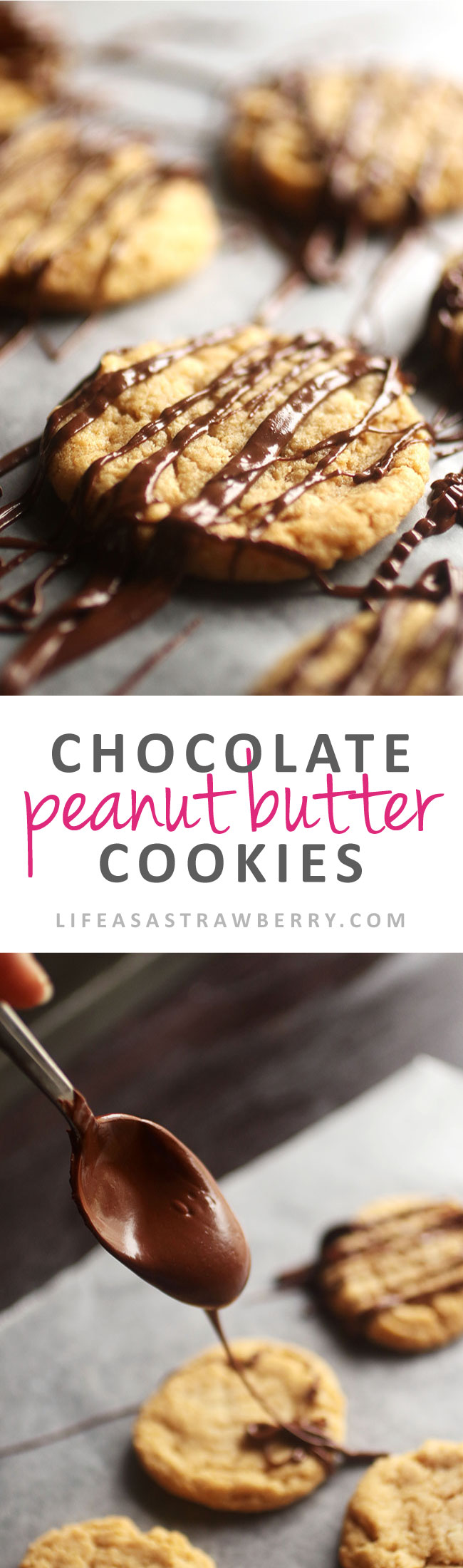 Chocolate Covered Peanut Butter Cookies | This easy peanut butter cookie recipe is perfect for holiday baking. Serve them as salted chocolate cookies or serve with plain chocolate drizzle for a simple, soft, chewy cookie. Vegetarian. Use for homemade Christmas Cookies Recipes (or from scratch cookies any time of the year!) | lifeasastrawberry.com