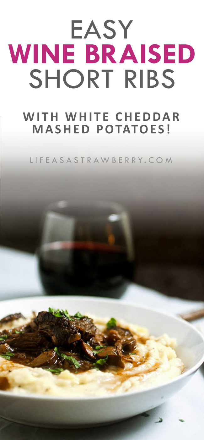 text and photo illustration of wine braised short ribs in a white bowl