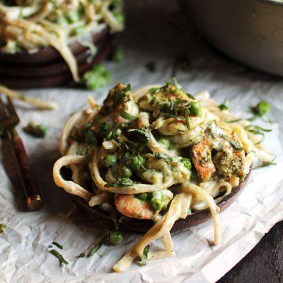 Pea and Pesto Shrimp Fettuccine