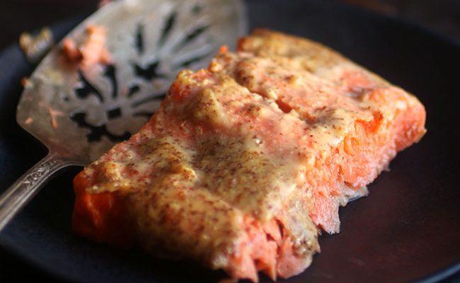 4 Ingredient Mustard Roasted Salmon