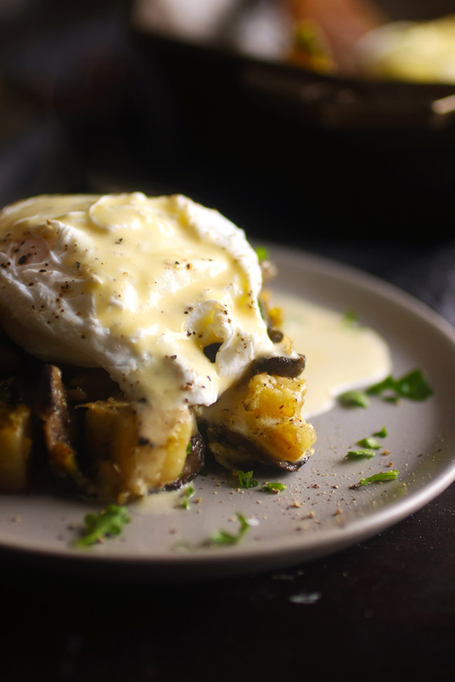 Vegetarian Leek and Mushroom Breakfast Hash - A buttery homemade hollandaise sauce make this a delicious brunch recipe option.
