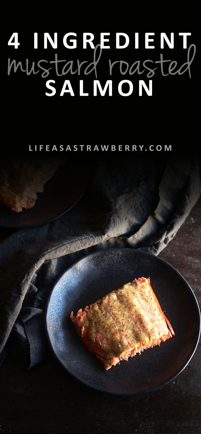 4 Ingredient Mustard Roasted Salmon - This easy baked salmon recipe is healthy and perfect for busy weeknights - and with only four ingredients! A simple, healthy mustard and maple syrup sauce brings out the flavor of the fish and makes for a dish the whole family is sure to love. Oven baked salmon in less than half an hour. Serve with asparagus or your favorite side dish!