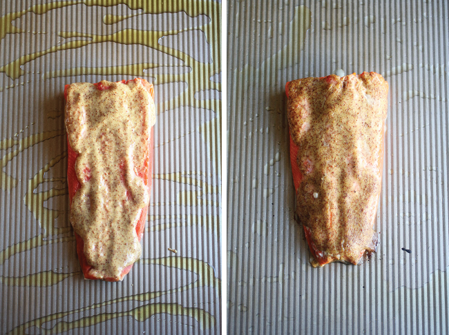 Side by side overhead photos of uncooked salmon fillet and a cooked salmon fillet on a baking sheet