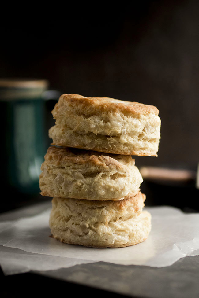 stack of three gruyere biscuits