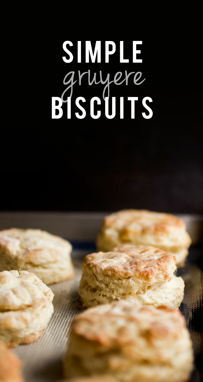 Simple Gruyere Biscuits | Take your brunch and breakfast game to a new level with these easy, cheesy, impossibly flakey gruyere biscuits! A perfect homemade biscuit recipe for any occasion. Made from scratch and ready in just 30 minutes! Delicious on their own or with your favorite gravy.