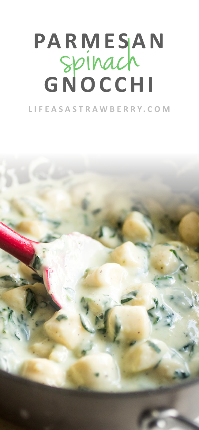 Parmesan Spinach Gnocchi | This easy parmesan spinach sauce is the perfect cheesy accompaniment to soft, pillowy gnocchi. A great, quick recipe for easy weeknight meals - one of our favorite gnocchi recipes!