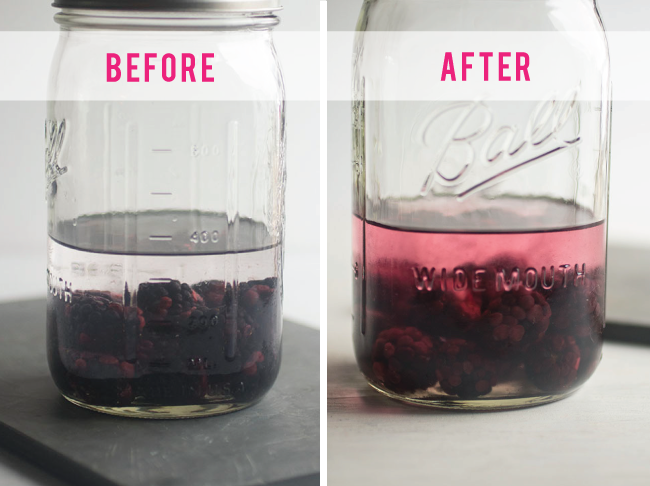 before and after of homemade blackberry infused vodka in glass jars