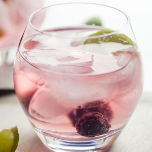light pink cocktail in a glass with fresh berries