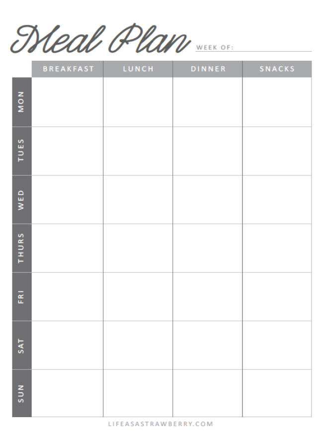 Meal Planning Worksheets Life As A Strawberry