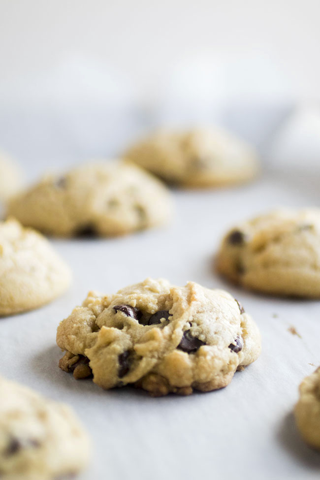 Fresh chocolate chip cookies on a baking sheet lined with parchment paper on a white background