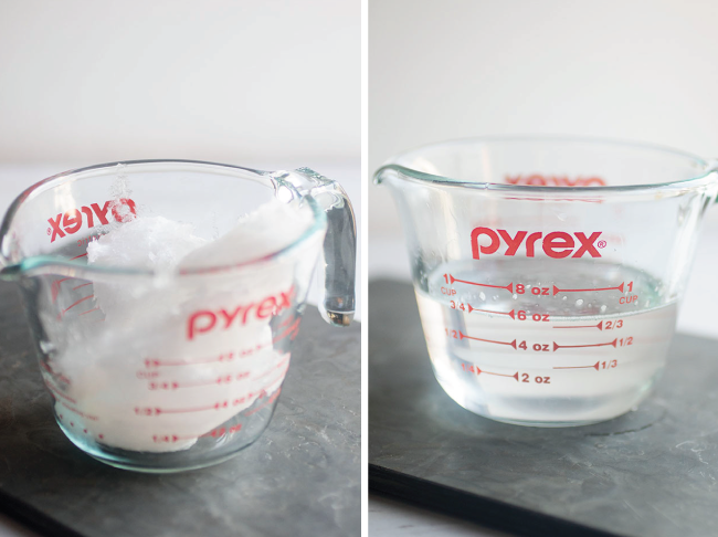Photo of solid coconut oil in a measuring cup next to a photo of melted coconut oil in a measuring cup on a white background
