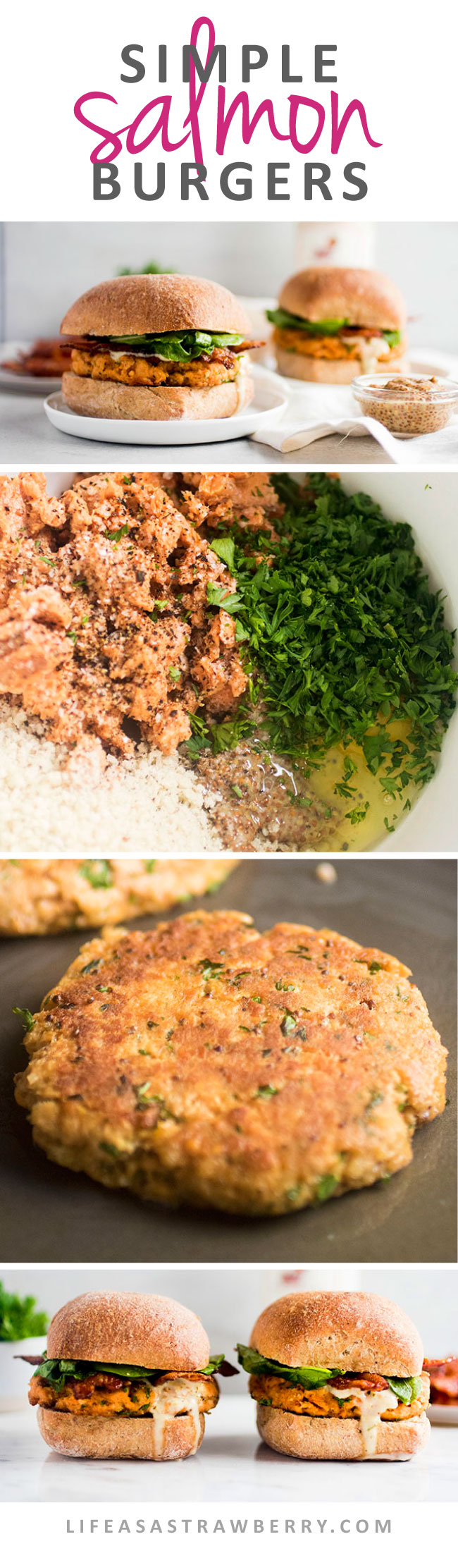 Simple Salmon Burgers with Bacon and Arugula | These easy (and sustainable!) homemade salmon patties make rich, flavorful burgers that the whole family will love. Build your salmon burger as directed or use the salmon cakes as a standalone dish for a healthy low-carb option! Patties made with easy canned salmon, topped with crispy bacon, fresh arugula, and a tasty Poblano Ranch sauce. Ready in under an hour and great baked or grilled.