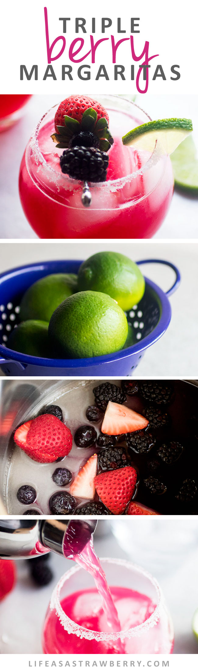 Triple Berry Margaritas - This easy margaritas recipe uses fresh blackberries, strawberries, and blueberries for a sweet, colorful twist on a classic margarita cocktail. No margarita mix required! Make it on the rocks or frozen and blended, and easy to make in a pitcher for a crowd. Vegetarian, Vegan.