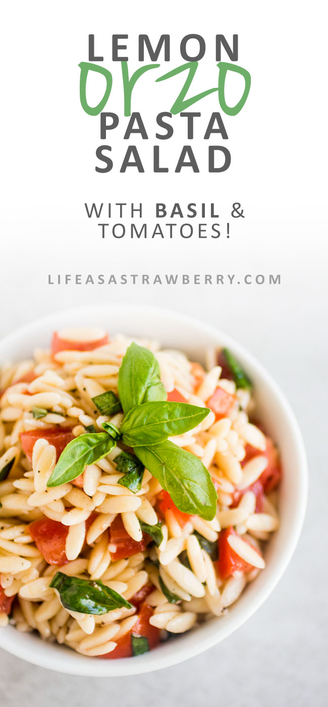 Easy Orzo Pasta Salad - This simple pasta salad recipe is perfect for summer picnics, potlucks, and barbecues! A great make ahead lemon pasta side dish that everyone will enjoy. Vegetarian.