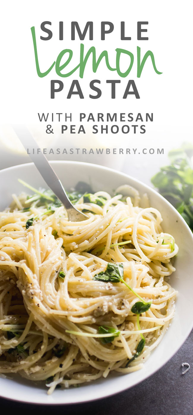 Simple Lemon Pasta with Parmesan and Pea Shoots - This easy weeknight recipe is sure to be a hit! Fresh spring pea shoots, spaghetti noodles, and a simple lemon sauce with pepper and parmesan cheese pack this pasta recipe with a ton of flavor. Ready in 30 minutes. Vegetarian.