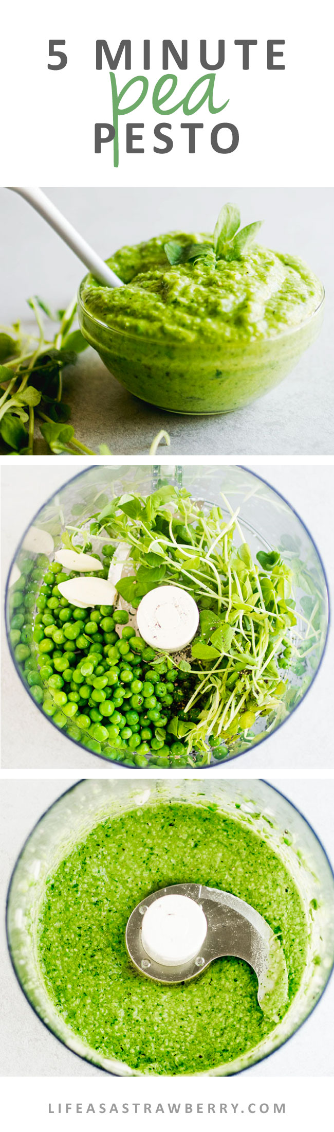 5 Minute Pea Pesto - This traditional pesto recipe gets a springtime twist with fresh peas and pea shoots! An easy, creamy homemade pesto sauce perfect for topping dishes like pasta, chicken, fish, and more. Ready in just five minutes with your food processor without pine nuts! Vegan, Vegetarian.
