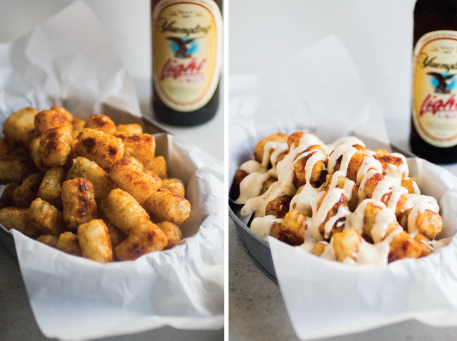 side by side photo of baked tater tots in a metal tin and the same tater tots later topped with cheese sauce