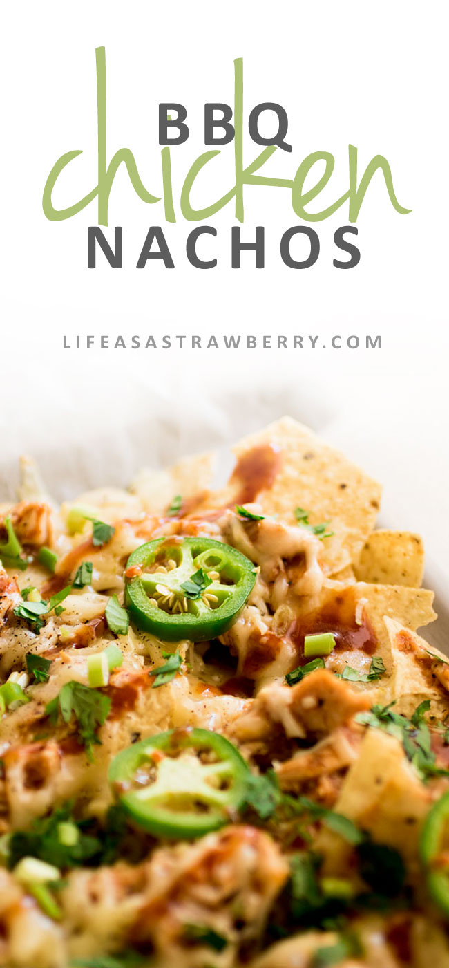 Easy BBQ Chicken Nachos - This quick and simple nachos recipe is perfect for game day or busy weeknights! Tasty baked nachos with smokey barbecue chicken and spicy pepper jack cheese.