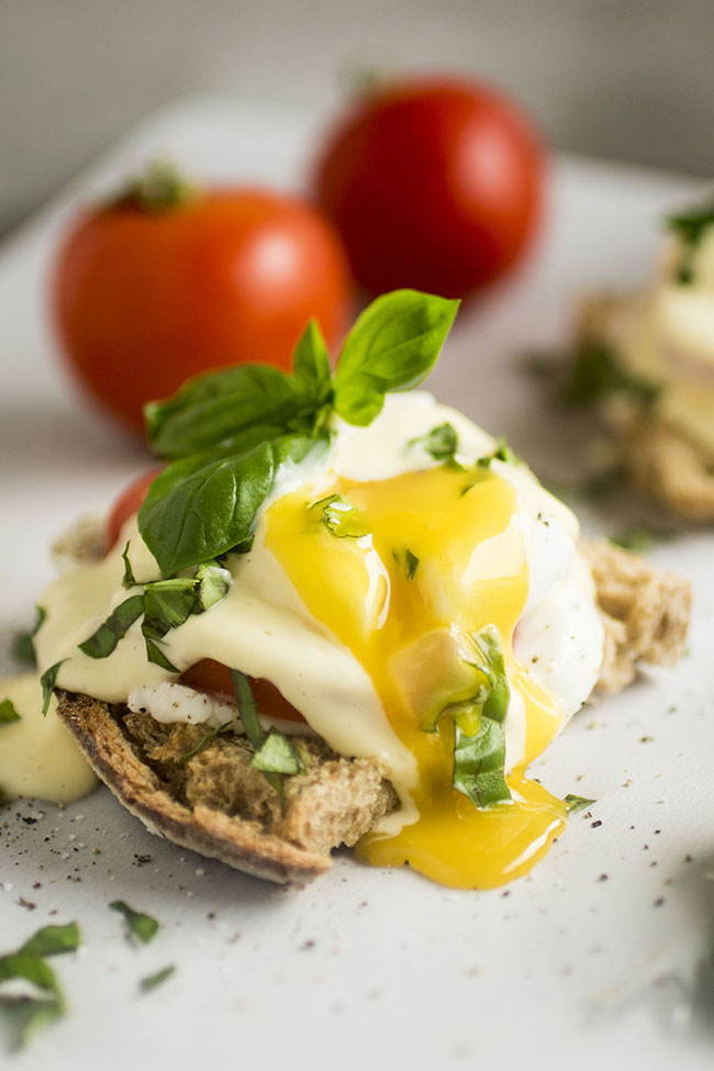 This easy vegetarian caprese eggs benedict recipe is perfect for your next brunch!