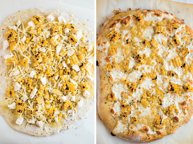 Overhead before-and-after photo of raw and baked pizza topped with grilled corn and mozzarella cheese