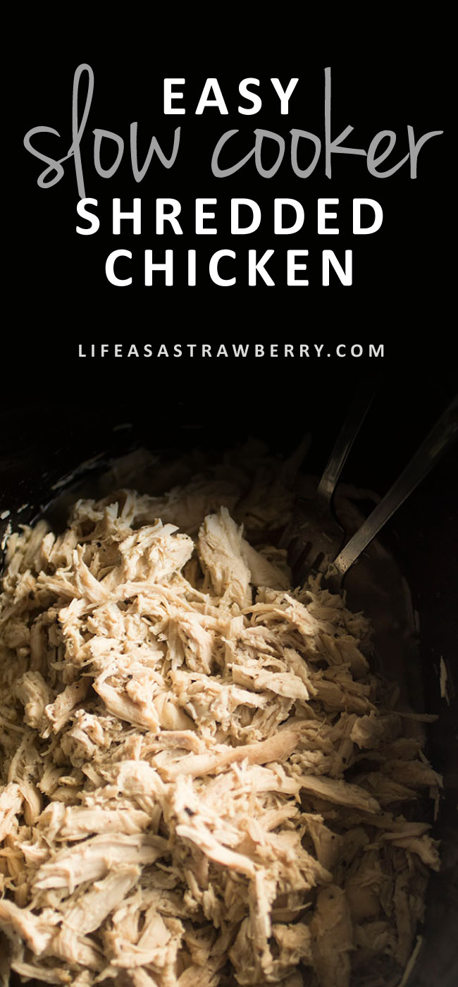 Easy Slow Cooker Shredded Chicken - This quick and simple crock pot pulled chicken recipe is perfect for meal prep during busy weeks! Cook up a bunch of this slow cooker chicken and use it all week long in salads, soups, pastas, and more! Includes step-by-step video instructions.