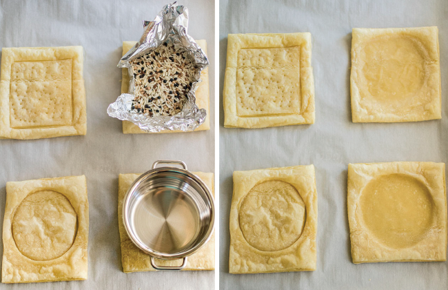 overhead photo of eight puff pastry squares baked with different weight methods