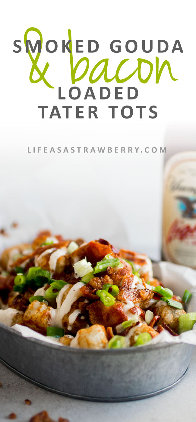 Smoked Gouda and Bacon Loaded Tater Tots - These loaded tater tots feature crispy bacon, fresh green onions, and a velvety smoked gouda cheese sauce! Perfect for entertaining and simple to make.