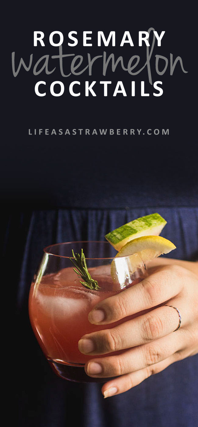 Rosemary Watermelon Cocktail - This easy, refreshing watermelon vodka drink gets an earthy note from fresh rosemary and a hint of brightness from tart lemon juice. Made with homemade watermelon juice and ready in under 20 minutes - the perfect summer cocktail! Make a pitcher in advance for entertaining. Vegan, Vegetarian.