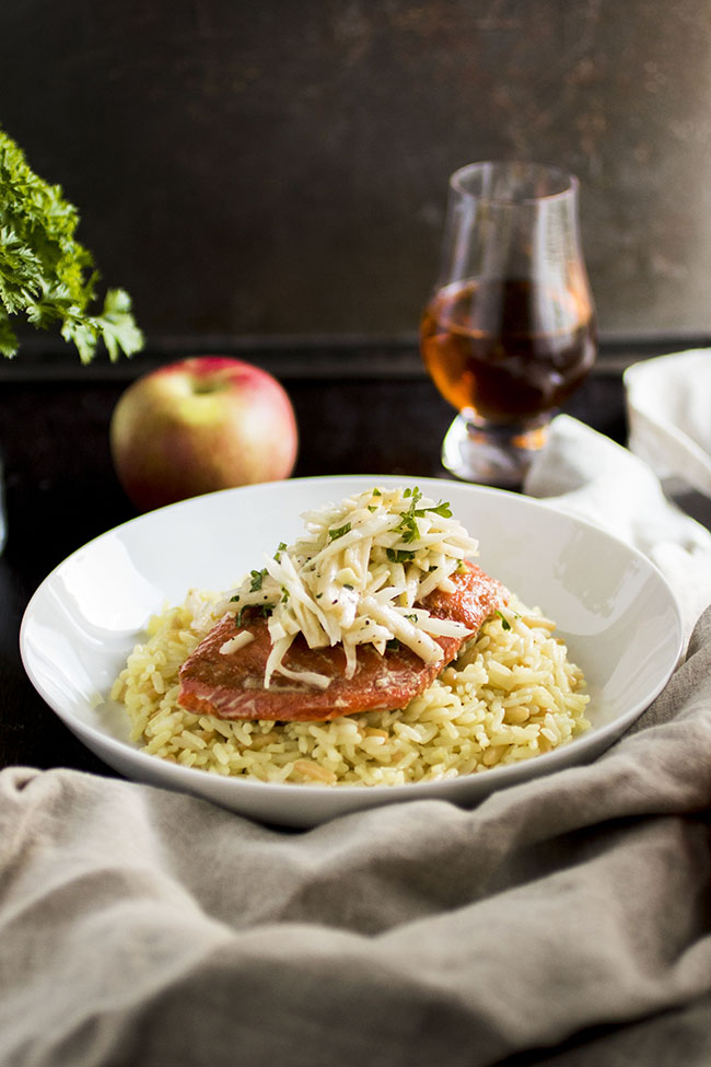 Maple Bourbon Glazed Salmon with Easy Apple Fennel Slaw - This simple weeknight seafood recipe is packed with flavor and quick to throw together! Also, a few notes about seafood fraud and what we as consumers can do to ensure a sustainable future for our seafood supply.