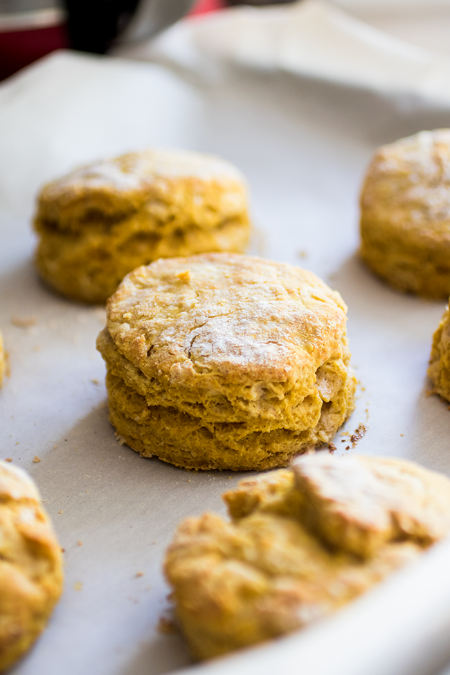 Pumpkin biscuit surrounded by several other biscuits on a piece of parchment paper