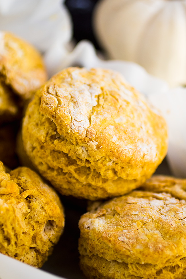 Pumpkin biscuits stacked in a serving dish