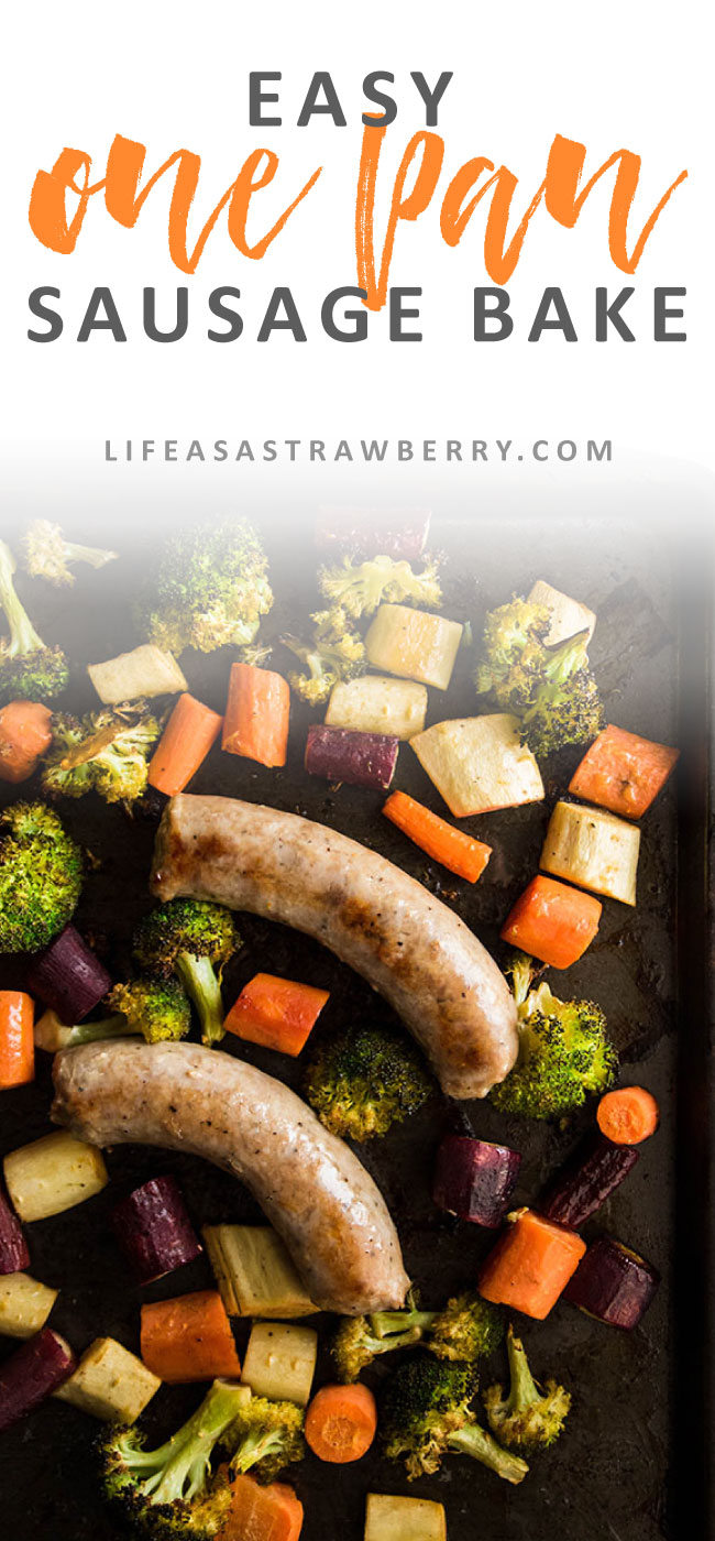 Easy One Pan Sausage Bake - This easy one pan meal will be your new favorite sausage dinner recipe! Polish sausage, carrots, parsnips and broccoli make an easy sheet pan supper.
