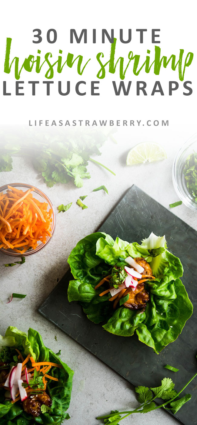 Hoisin Shrimp Lettuce Wraps Recipe - These easy lettuce wraps are filled with simple hoisin glazed shrimp, carrots, radishes, green onions, and plenty of cilantro. The perfect healthy recipe for summer. Ready in 30 minutes.