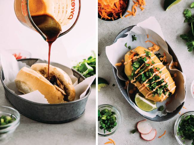 Two side-by-side photos of hoisin sauce being drizzled over a sandwich from above