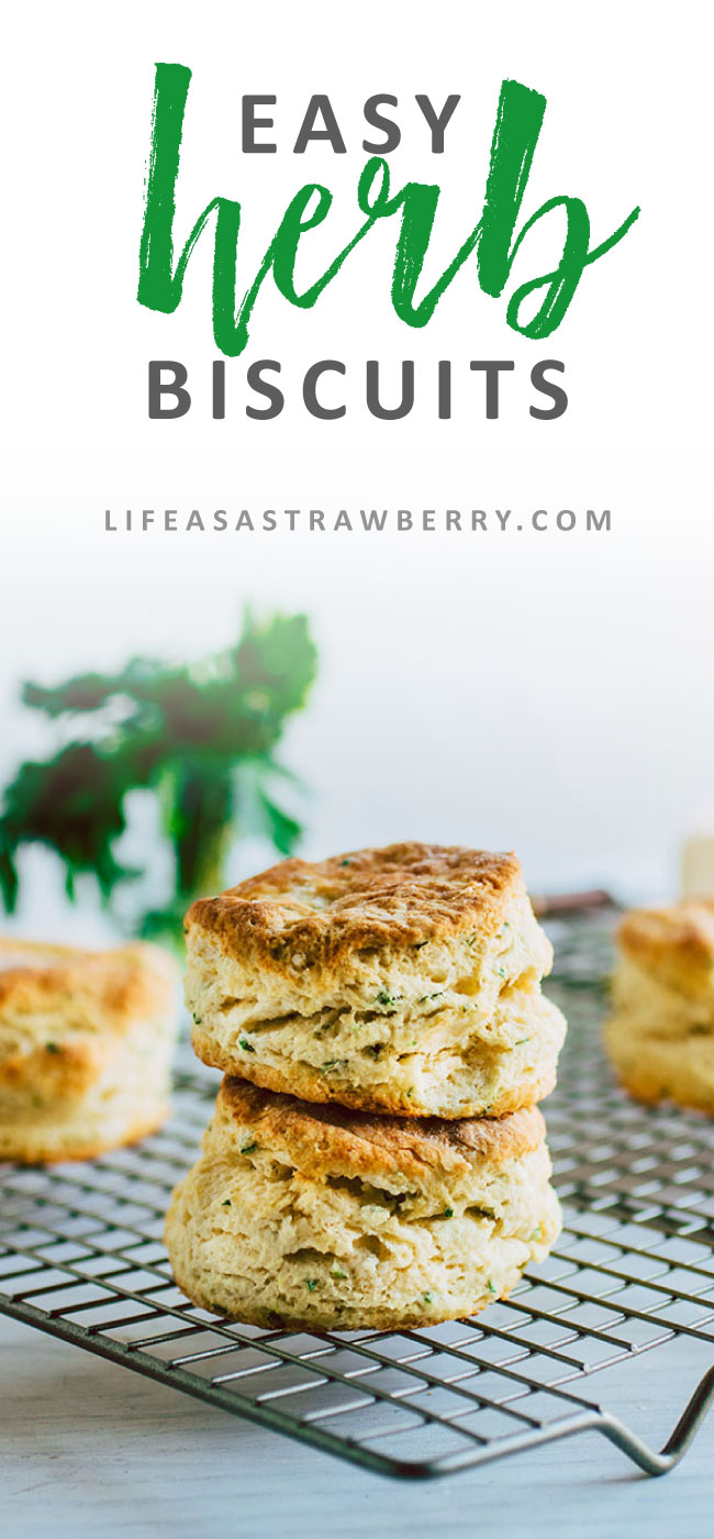 Summer Herb Biscuits - A simple biscuit recipe for breakfast or brunch. Full of fresh summer herbs. Vegetarian.