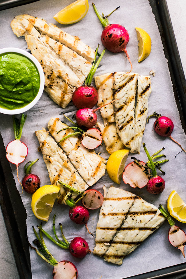 Grilled Barramundi Recipe - Served with amazing grilled radishes and radish top pesto!