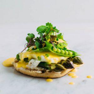 Vegetarian Eggs Benedict with Spring Veggies