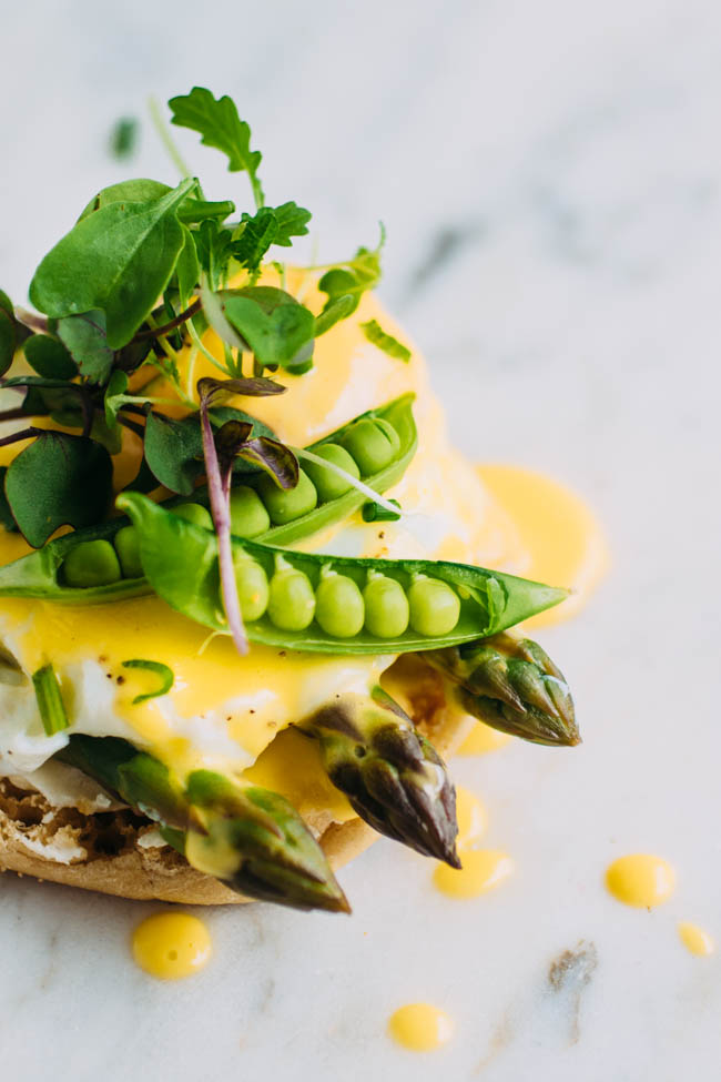 Vegetarian Eggs Benedict with Spring Veggies