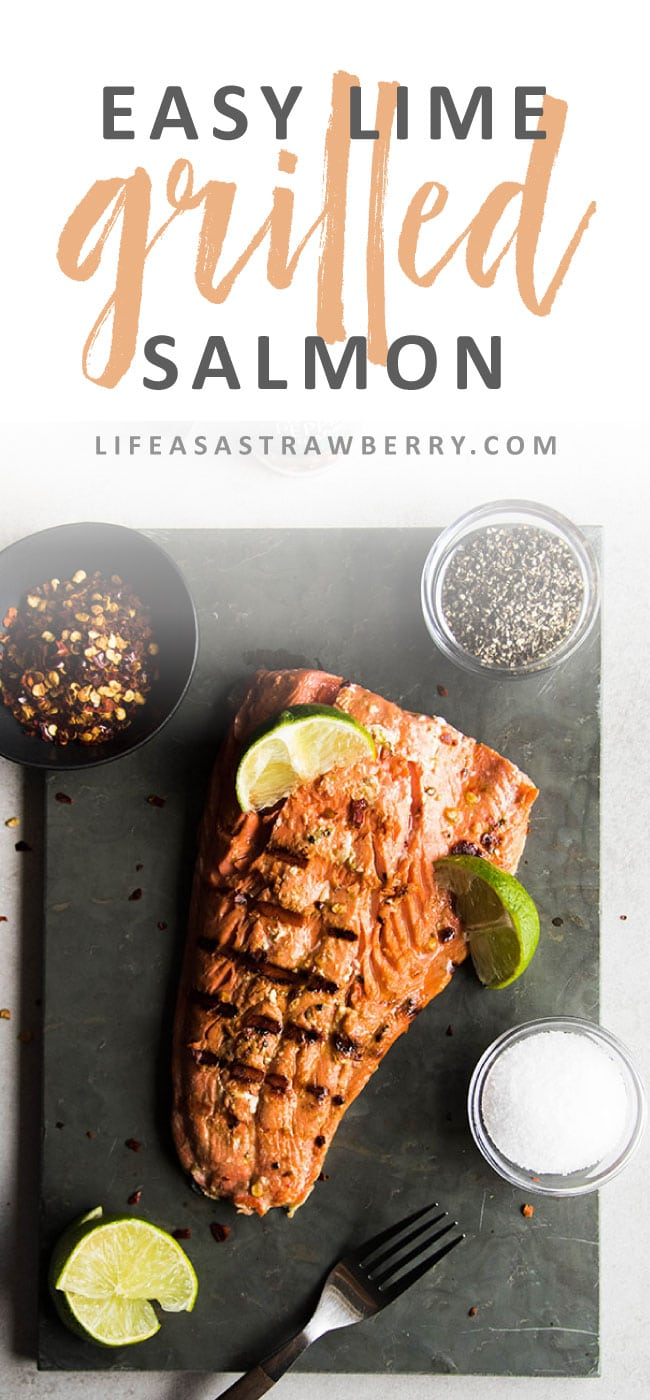 The Easiest Spicy Lime Grilled Salmon - A quick and simple salmon marinade of lime juice, soy sauce, and red pepper flakes packs a ton of flavor and is ready in no time!
